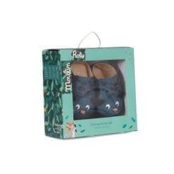 Chaussons cuir bébé - panthère bleu - Dans la jungle 0/6 m - Moulin Roty