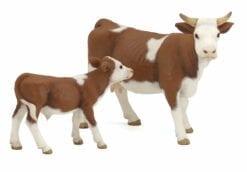 figurine animaux de la ferme - vache simmental marron - la vie a la ferme - papo