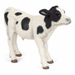 figurine animaux de la ferme - veau noir et blanc - la vie a la ferme - papo