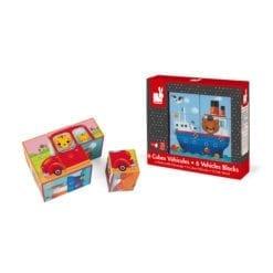jeu d'éveil - kubkid - 6 cubes vehicules
