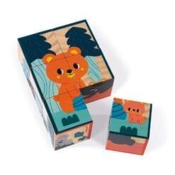 jouet d'éveil en bois certifié fsc - 6 cubes en bois animaux - janod