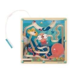 jouet d'éveil en bois certifié fsc - labyrinthe à billes ocean - janod