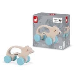 jouet d'éveil en bois certifié fsc - ours polaire à promener - janod