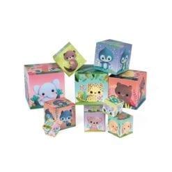 jouet d'éveil - pyramide carrée - les animaux tout mignons