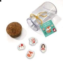 loisir créatif - fiole de 20 mini gommes: 2 modèles renard et licorne - janod