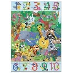 puzzle encastrement - géant 1 a 10 jungle - 54 pièces - djéco