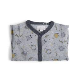 Pyjama bébé - 12m jersey gris chiné allover chats - Les Moustaches - Moulin Roty