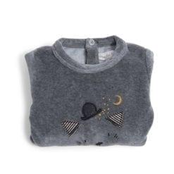 Pyjama bébé - 12m velours gris chiné tête chat - Les Moustaches - Moulin Roty
