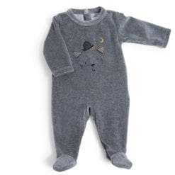 Pyjama bébé - 3m velours gris chiné tête chat - Les Moustaches - Moulin Roty