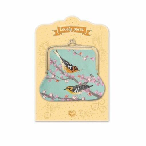 sac et porte monnaie enfant - oiseaux -lovely  paper - djéco