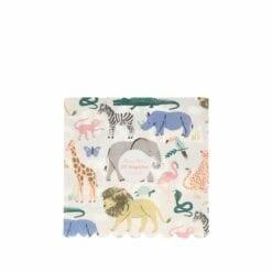 serviettes d'anniversaire en papier - animaux savane  - méri méri